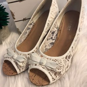 👠 Report 👠 White Lace Peep Toe Cork Wedges 9 1/2